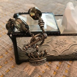 Sterling and gemstone crown bracelet